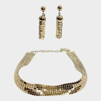 WHITING and DAVIS Mesh Demi Parure - Vintage Rhodium Plated Necklace and Earrings Set