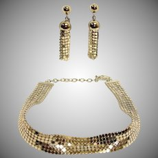 WHITING and DAVIS Mesh Demi Parure - Vintage Silver Necklace and Earrings Set