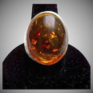 Silver Tone Amber Cabochon Ring – Size 8