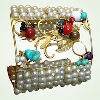 Retro MASSIVE  Cuff Bracelet - Dangling Gems and Faux Pearls