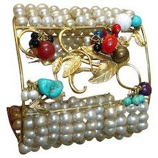 Retro MASSIVE  Cuff Bracelet - Dangling Gems and Faux Pearls