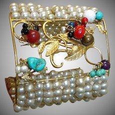 MASSIVE Retro Cuff Bracelet -Dangling Gems and Faux Pearls