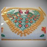 Vintage 2 Peacocks Cotton Chenille Bed Spread –DOUBLE or QUEEN Size Peacocks Chenille Bedspread - Sunny Bright Colors