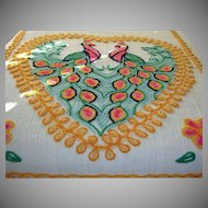 Vintage 2 Peacocks Cotton Chenille Bed Spread –DOUBLE or QUEEN Size Peacocks Chenille Bedspread - Sunny Bright Colors