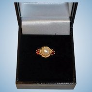 Vintage Estate Pearl and Garnet Ring - 14K Yellow Gold Ring - 6-3/4US