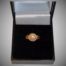 Vintage Estate Pearl and Garnet Ring - 14K Yellow Gold Ring - 6-3/4US