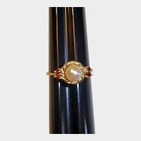 Vintage Estate Pearl and Garnet Ring - 14K Yellow Gold - 6-3/4 US