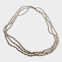 40% off Sale - Vintage 14 K Gold 3 Strand Freshwater Pearl Necklace - 8.6 mm