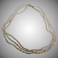 Vintage 14K Gold 3 Strand Freshwater Pearl Necklace - 8.6 mm