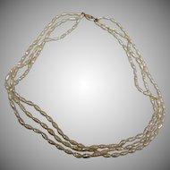 Vintage 14K Gold 3 Strand Freshwater Pearl Necklace - 8.6 mm