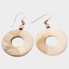 Vintage Estate Jewelry - Abalone Mother of Pearl Disk Drop Earrings – Pierced MOP Earrings - Dangle Drop Earrings