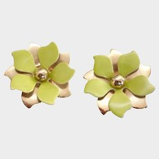 Vintage Clip-On Earrings Gold Tone and Chartreuse Green and White Enamel