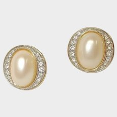 Vintage PIERCED Earrings - Classic Faux Pearl and Rhinestone Earrings