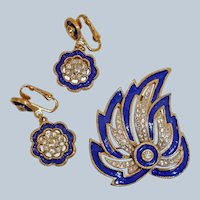 Vintage KRAMER Rhinestone and Enamel Demi Parure - Brooch and Earrings Set