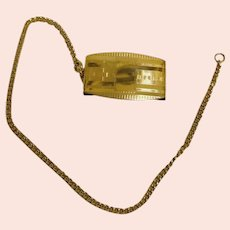 Early Art Deco / Roaring 20's - Gold Filled Watch Chain + Belt Fob Clip Accessary - 9K Gold Filled