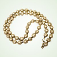 "Miriam Haskell Glass Baroque Pearl Necklace - 26"" Long - Estate Jewelry"