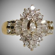 14K Gold .50 tcw Diamond Cluster Ring - 6 3/4 US - Engagement Ring - Right Hand Cocktail Ring