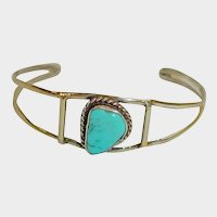 Vintage Southwestern Silver and Turquoise Cuff Bracelet - SMALL