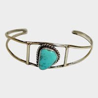 Southwestern Silver and Turquoise Cuff Bracelet - SMALL