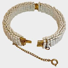 Estate Vintage Miriam Haskell Bracelet - Seed Bead Oval Bangle Bracelet with Safety Chain