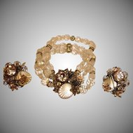 Estate Bracelet and Earrings Set - Vintage DESIGNER Demi Parure Jewelry - Crystal and Rhinestone
