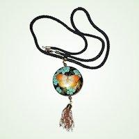 20% off sale - Vintage HOBE Cloisonne Pendant Necklace - Round Butterfly Enamel Guilloche Pendant