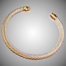 Estate Silver and Gold Tone Cuff Bangle Bracelet
