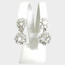 Vintage Estate - Sparkling Rhinestone Drop Dangle Earrings - Silver Tone Clip-On Earrings - Wedding Earrings - Prong Set Rhinestones