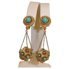 Vintage Trifari Jewels of India Collection - Dangle Drop Earrings