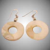 Vintage Mother of Pearl Disk Drop Earrings – Vintage Pierced Earrings - MOP Earrings