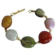 30% off - Vintage Polished Natural Stones Bracelet - Carnelian and Agates