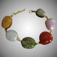 Vintage Polished Natural Stones Bracelet - Carnelian and Agates