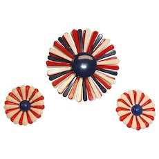 Vintage Red White and Blue Flower Brooch and Earrings Set – Red White and Blue Demi Parure