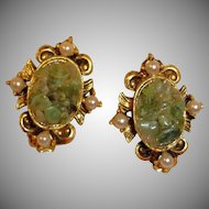 1970's Adventurine Stone and Copper Earrings with Faux Pearl Surround