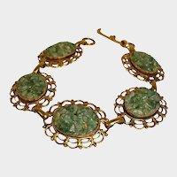 SALE - Vintage 1970's Quartz Bracelet - Solid Copper and Adventurine