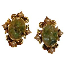 Vintage Adventurine Stone and Copper EARRINGS - Faux Pearl Surround - 1970's