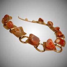 Vintage Natural Agate Polished Stone Bracelet