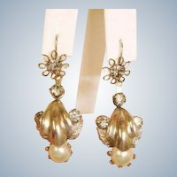 Antique Day to Night Dangle Pierced Earrings -  2 Ways to Wear