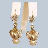 SALE****  Antique Day to Night Dangle Pierced Earrings -  2 Ways to Wear