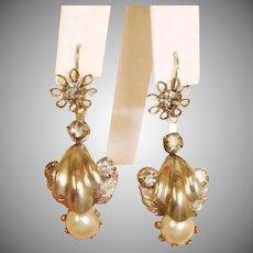Antique Day to Night Dangle Pierced Earrings -  2 Ways to Wear