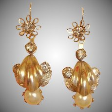 Antique  Day to Night Earrings - Day Night Dangle Pierced Earrings