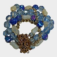 Vintage 5 Strand Fancy Clasp Bracelet - Blue Faceted Crystal and Art Glass Beads Bracelet - Blues Creams and Gold Tones - 1950's Era