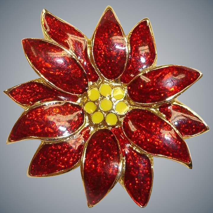 47b8f493120a4 Estate Christmas Pin - Signed SFJ - Red and Gold Color Poinsettia ...