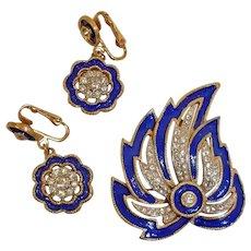 Vintage KRAMER Rhinestone and Enamel Demi Parure - Brooch and Earrings Set