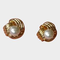 Faux Glass Pearl Pierced Earrings- Signed VON