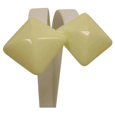 Vintage Creamy White Earrings - Clip On Earrings