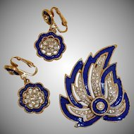 KRAMER Rhinestone and Enamel Demi Parure - Brooch and Earrings Set - Vintage Kramer Jewelry