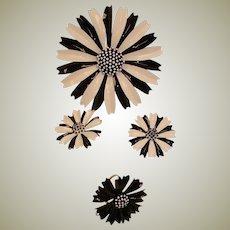 40%Off SALE - Vintage TRIFARI Black & White Parure - MOD Brooch Earrings and Ring Set - Daisy Parure