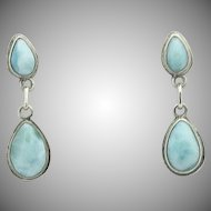 Sterling Silver Double Raindrop or Pear Larimar Pierced Earrings - Estate Larimar Jewelry