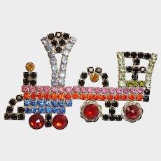 Vintage Jewelry - Kenneth J Lane - TRAIN Rhinestone Engine Brooch - KJL Jewelry - Era 1990 - Excellent Prong Set Rhinestones
